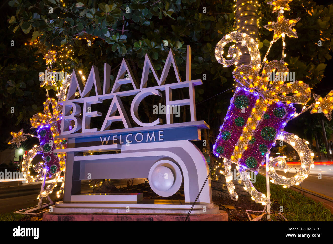 christmas decorations on welcome sign miami beach florida usa stock image