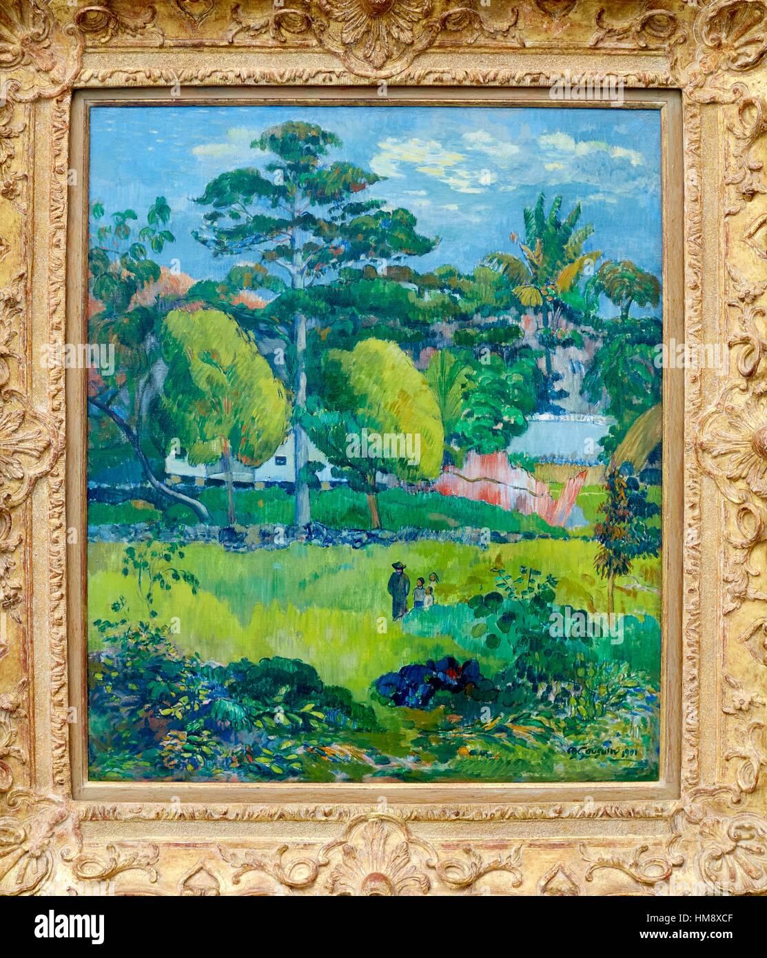 Paysage, Paul Gauguin, Musee de L´Orangerie, Tuileries, Paris, France - Stock Image