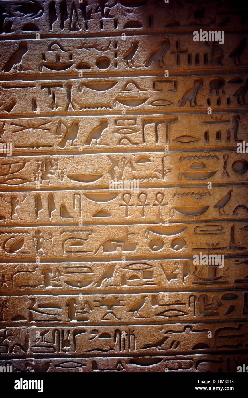 Hieroglyph. Mastaba of Horemheb. Saqqara necropolis. Lower Egypt - Stock Image