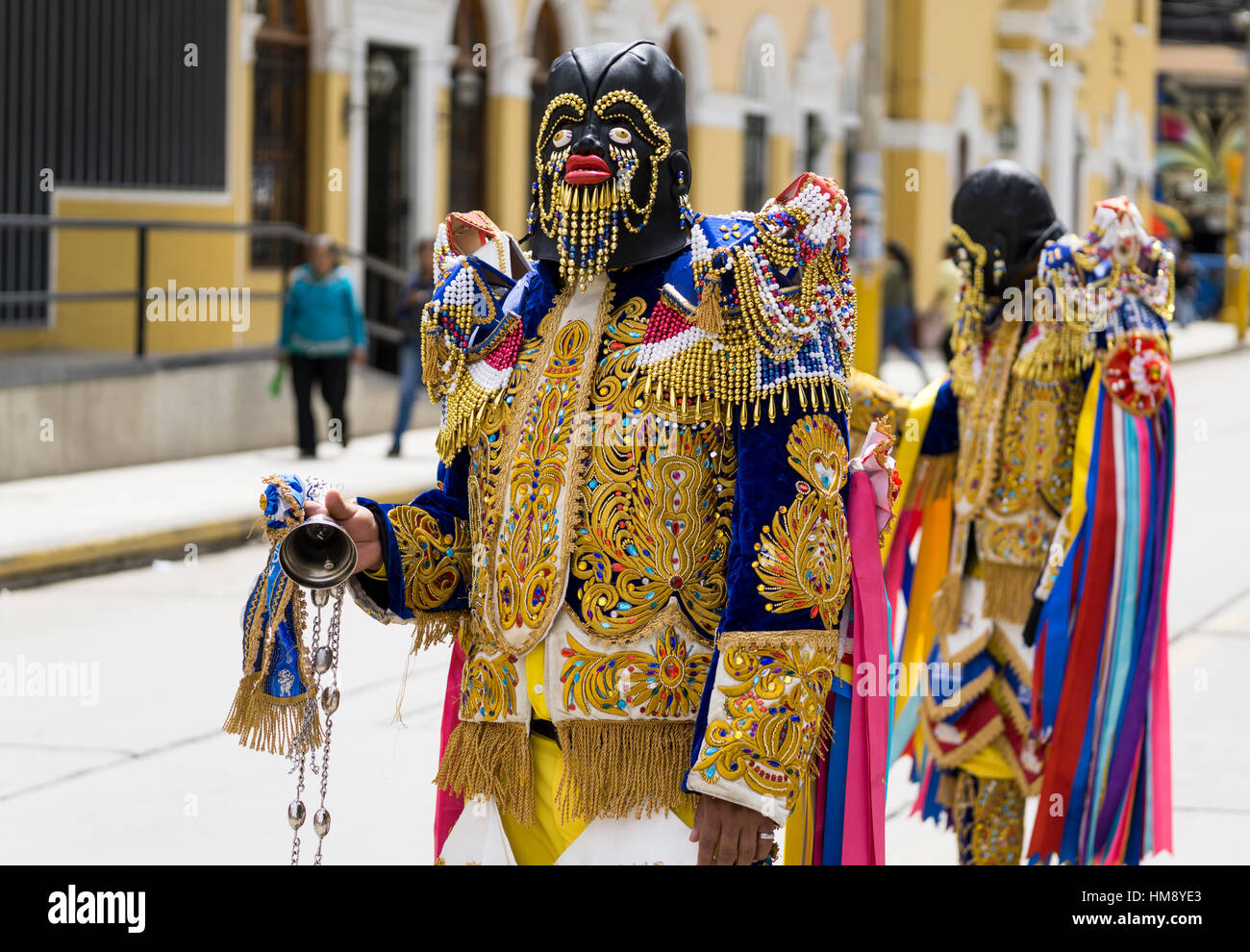 'Negritos de Huánuco', dancers on the streets, representing slaves at local farms during colonial times, - Stock Image