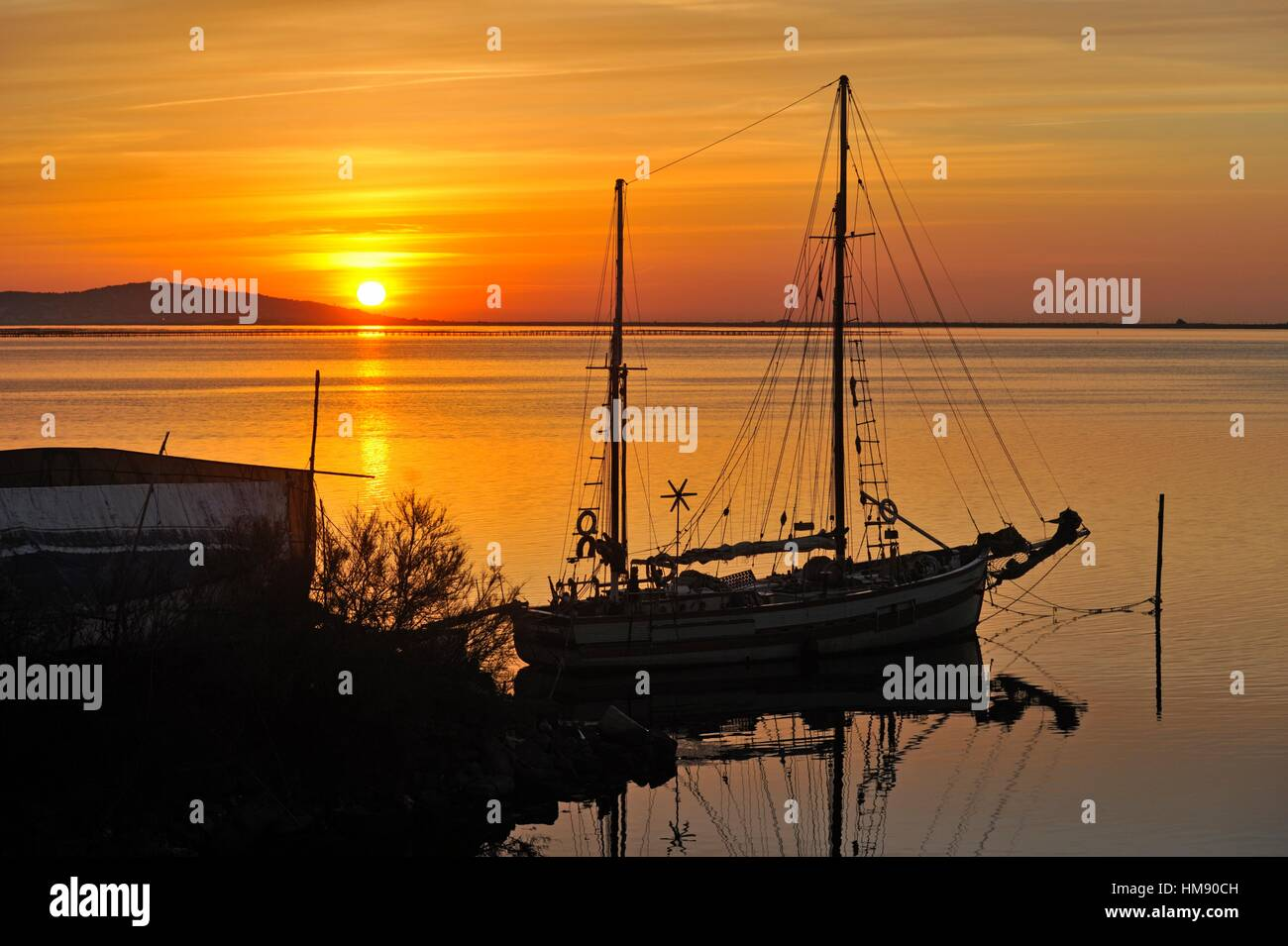 ketch sailing boat at anchor on Etang de Thau, Marseillan, Herault department, Languedoc-Roussillon region, France, - Stock Image