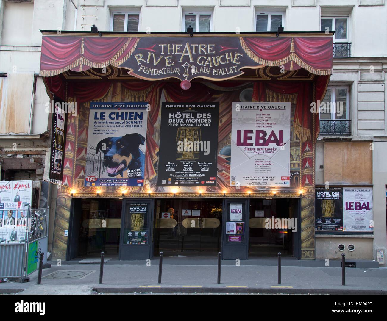 Exterior of the Theatre Rive Gauche in Montparnasse in the 14th arrondissement of Paris in winter - Stock Image