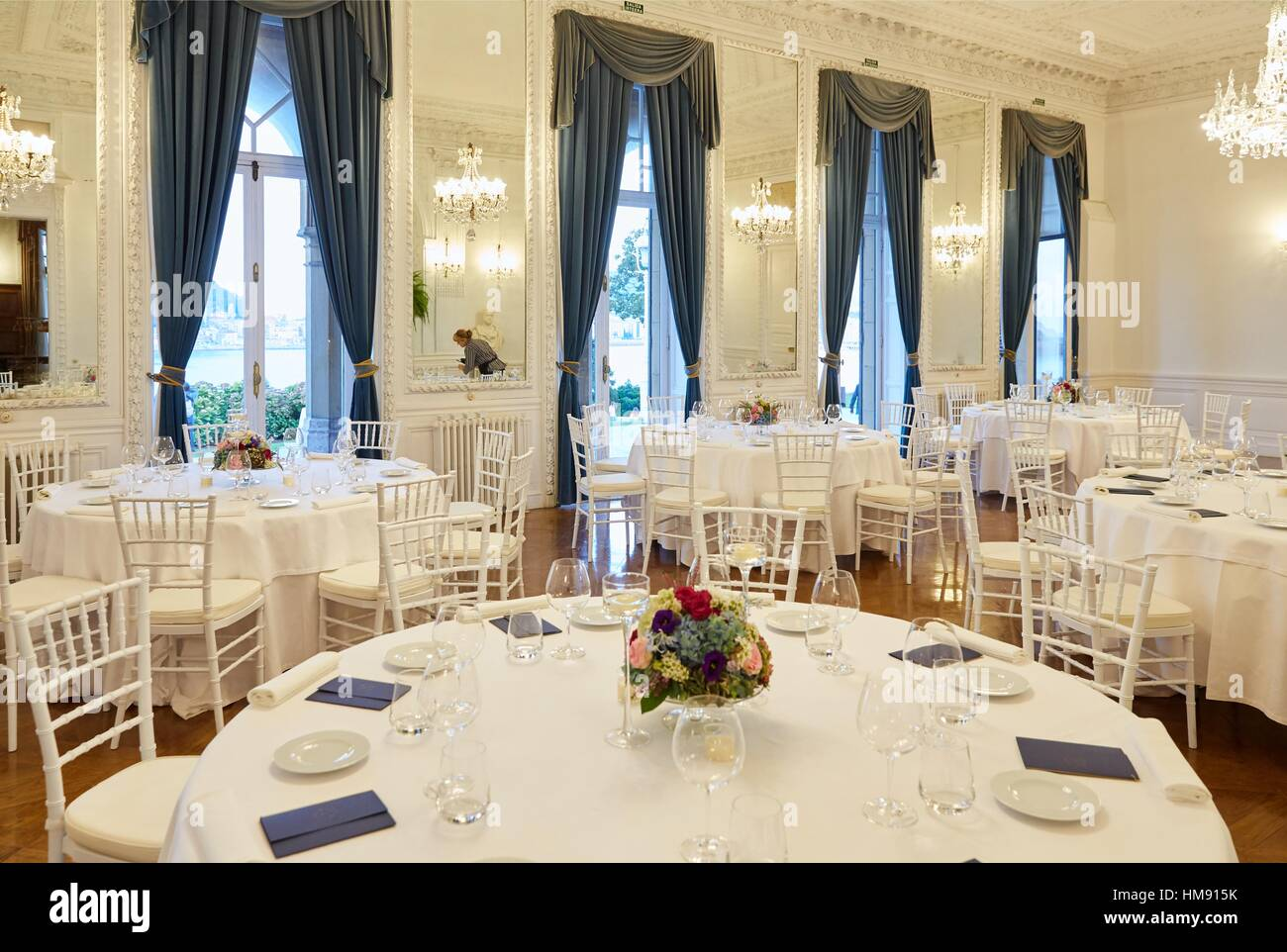 Preparation of tables, restaurant, Event at the Miramar Palace, Donostia, San Sebastian, Gipuzkoa, Basque Country, - Stock Image