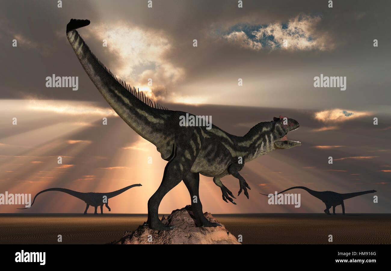 A Lone Allosaurus Tracking Diplodocus Sauropod Dinosaurs. Stock Photo