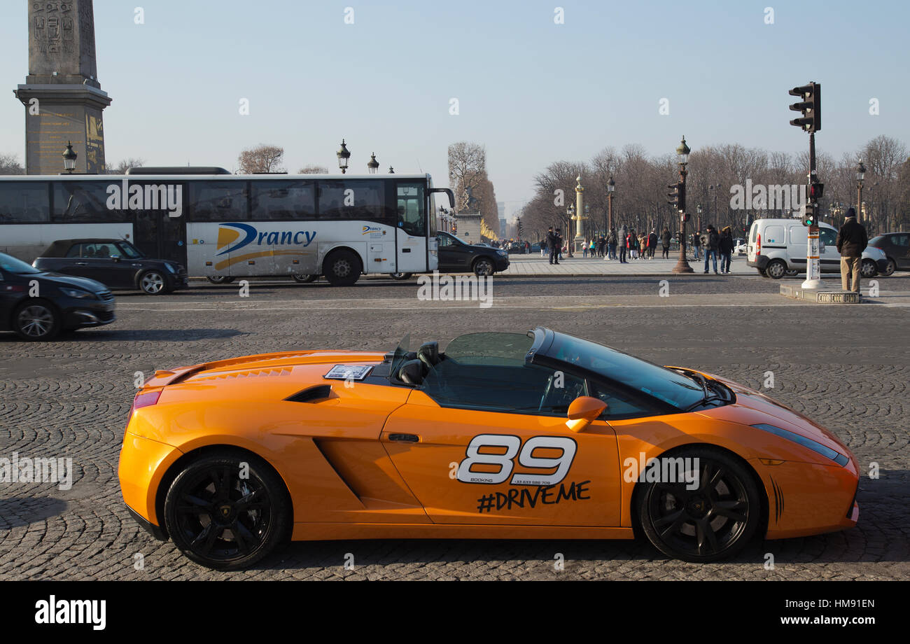 Lamborghini Driving Experience In Paris In Winter Stock Photo