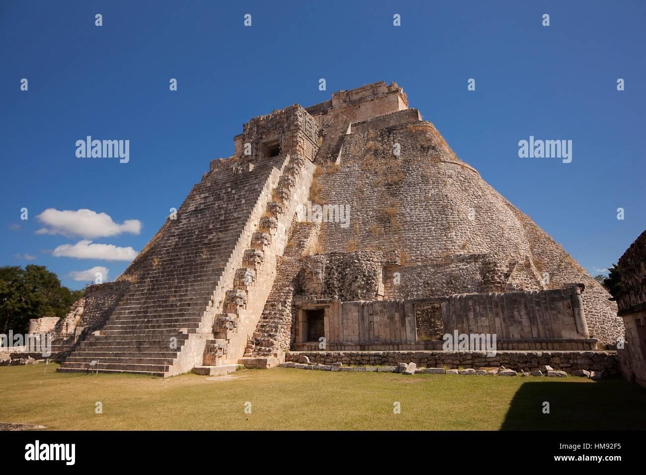 Pyramid of the Magician, Maya archeological site Uxmal, Yucatan, Mexico, Central America. - Stock Image