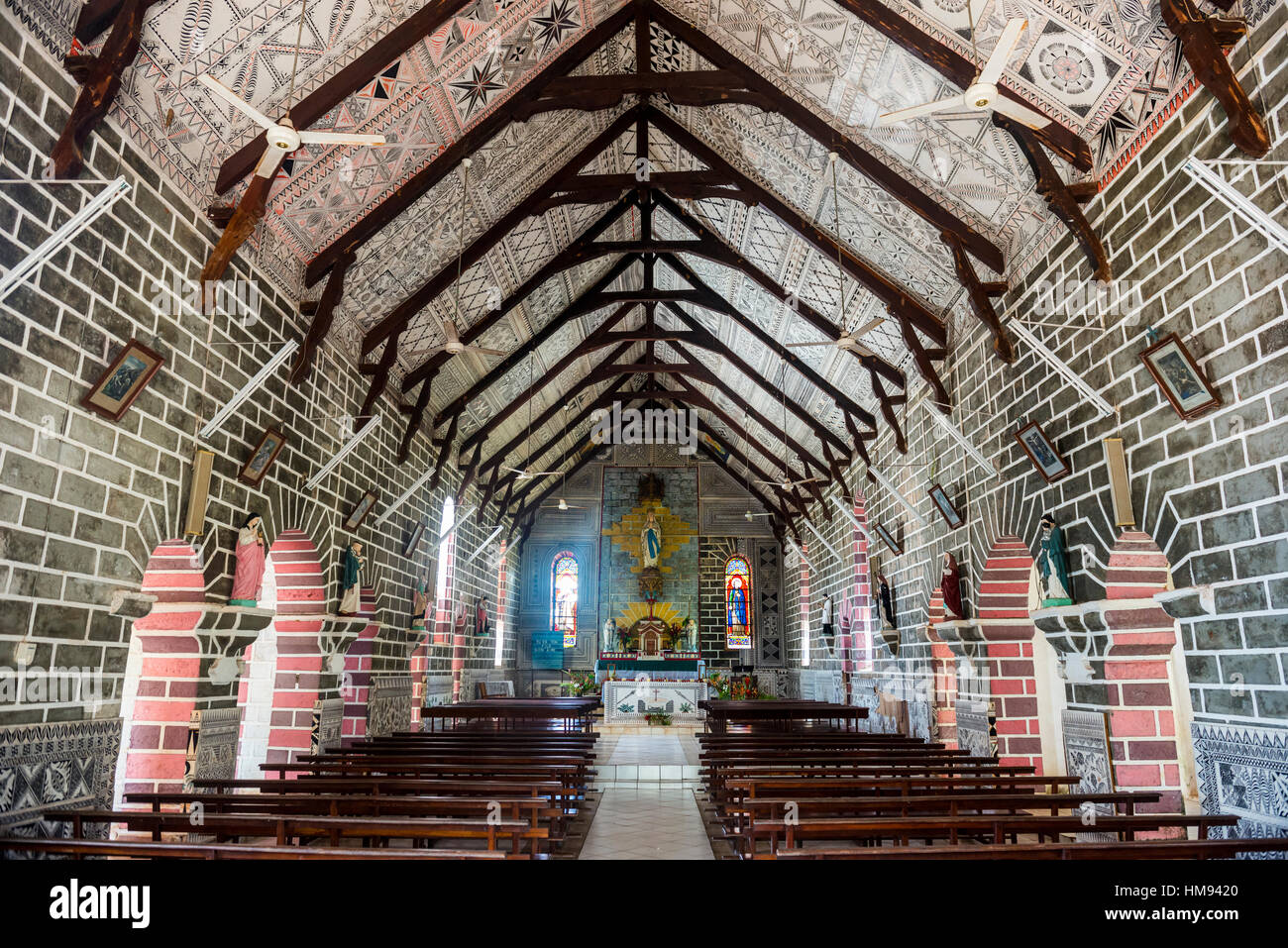 Bishop seat and church, Wallis, Wallis and Futuna, South Pacific, Pacific - Stock Image