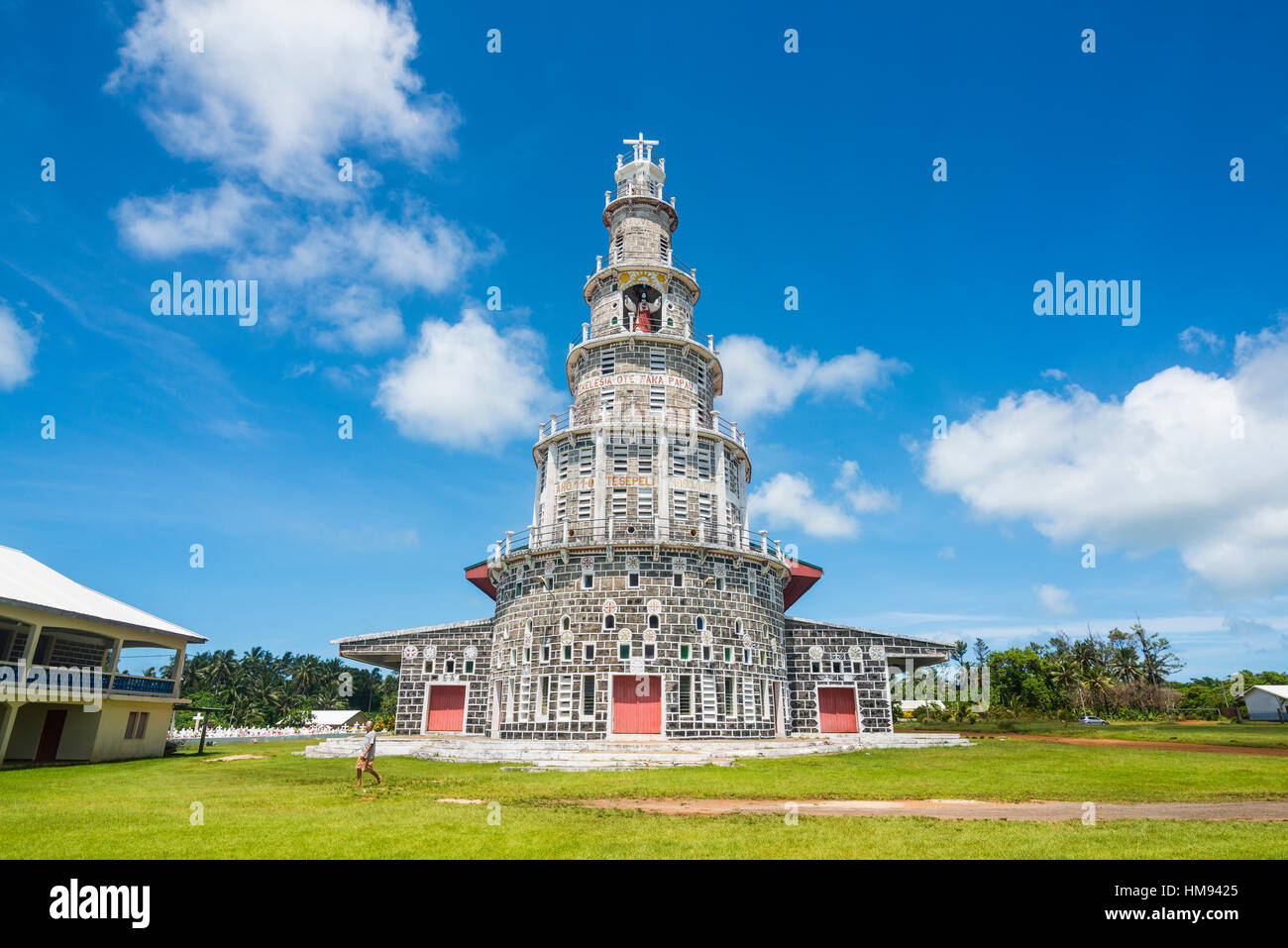 Church of the Sacred Heart, Matautu, Wallis Island, Wallis and Futuna, Melanesia, South Pacific, Pacific - Stock Image