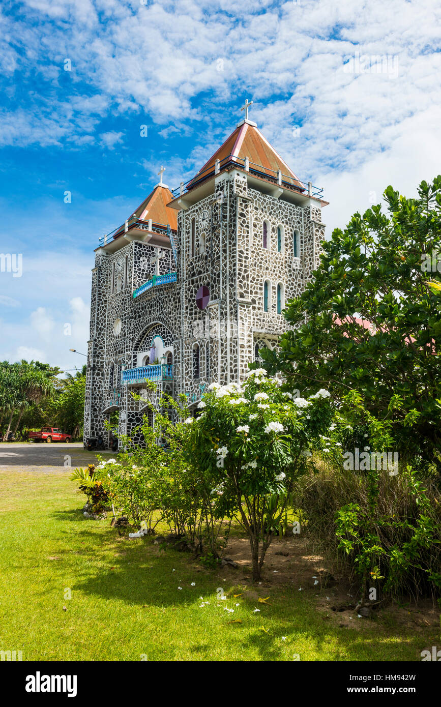 Traditional church, Wallis, Wallis and Futuna, South Pacific, Pacific - Stock Image