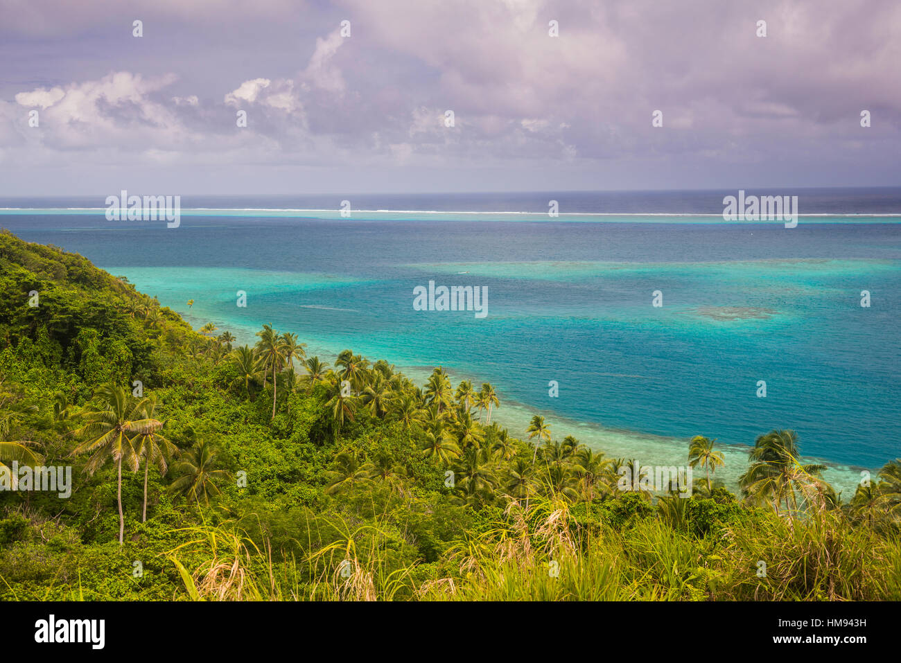 Overlook over the lagoon of Wallis, Wallis and Futuna, South Pacific, Pacific - Stock Image