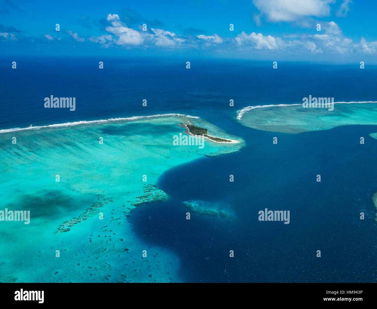 Aerial of the lagoon of Wallis, Wallis and Futuna, South Pacific, Pacific - Stock Image