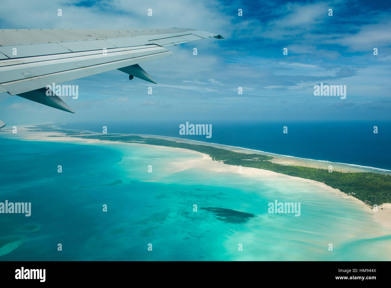 Aerial of Tarawa, Kiribati, South Pacific, Pacific - Stock Image