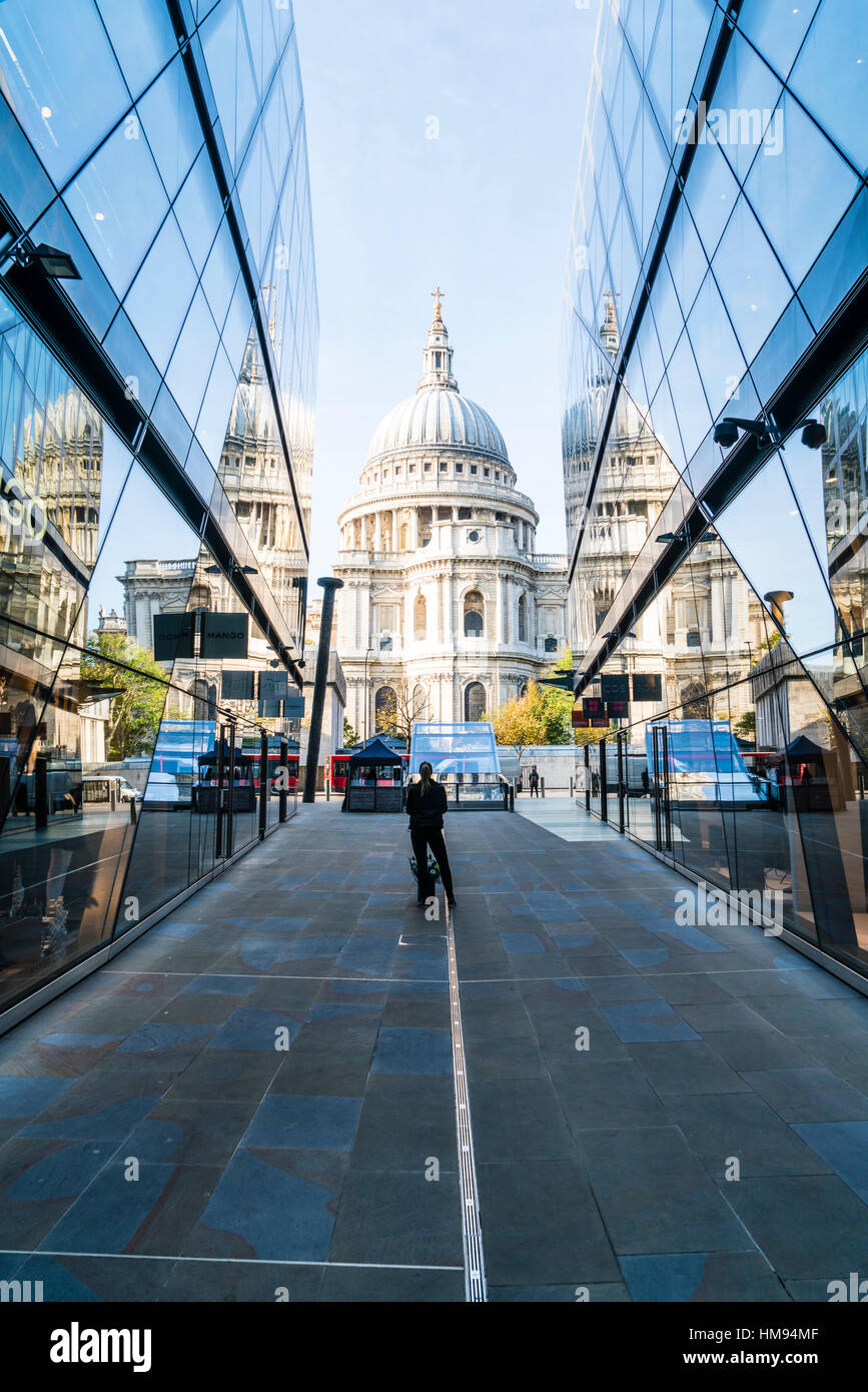 St. Paul's Cathedral from One New Change, City of London, London, England, United Kingdom - Stock Image