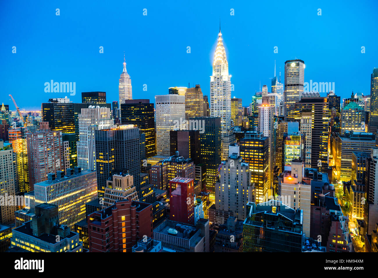 Manhattan skyline, Empire State Building and Chrysler Building, New York City, United States of America, North America - Stock Image