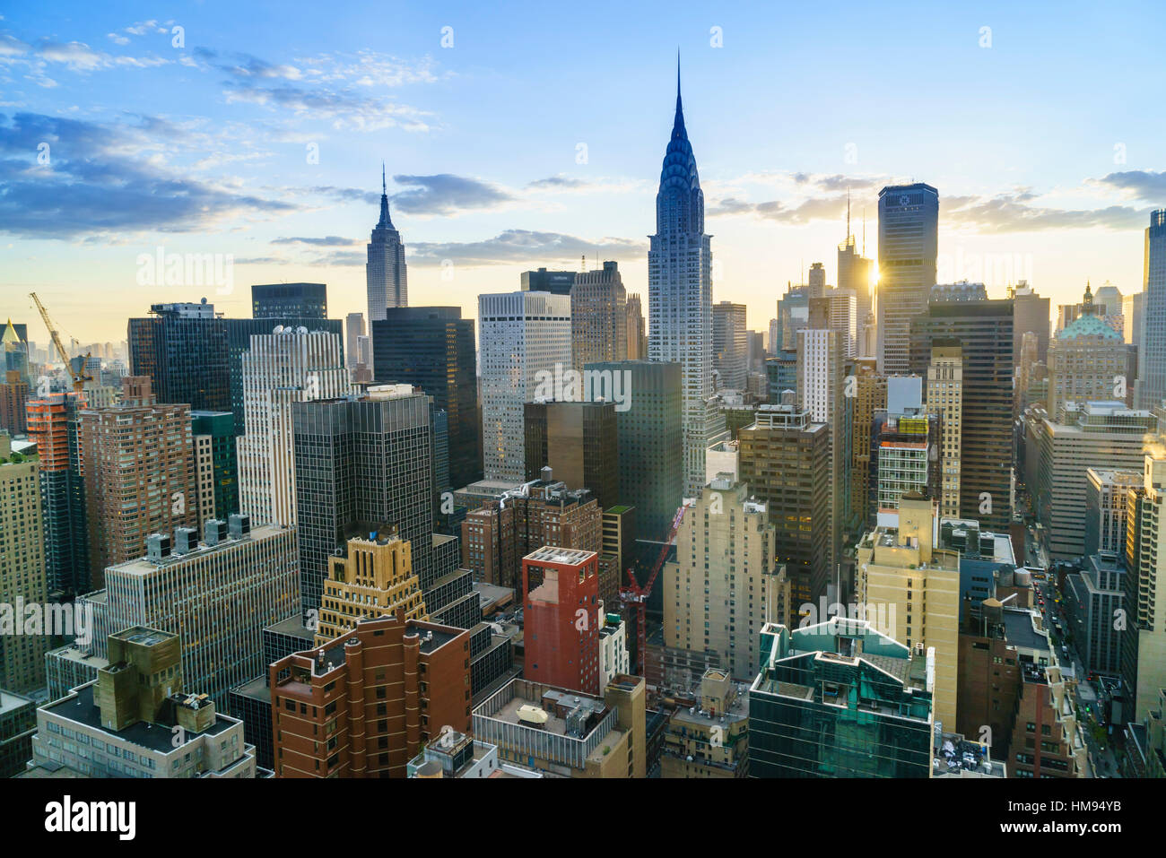 Manhattan skyline, Empire State Building and Chrysler Building at sunset, New York City, United States of America, - Stock Image