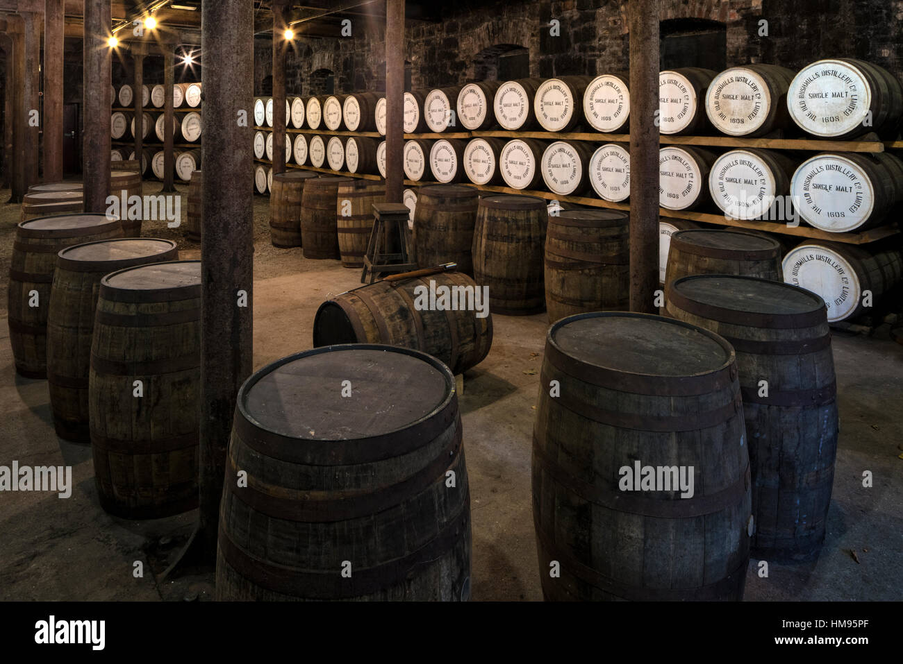 Bushmills Distillery, County Antrim, Ulster, Northern Ireland, United Kingdom - Stock Image