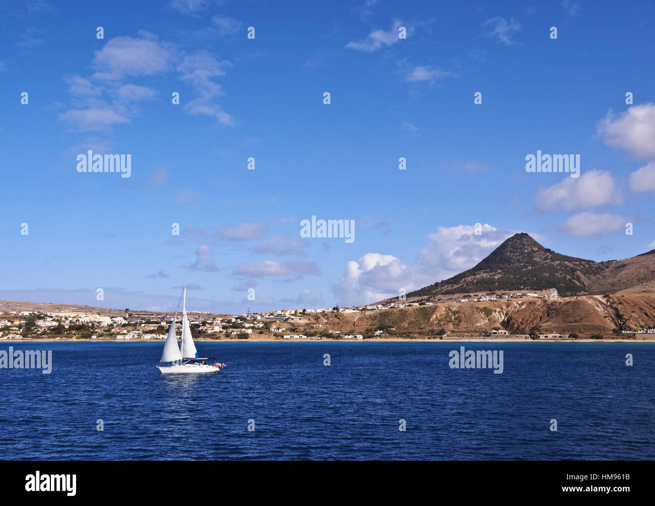 View towards the coast of the Porto Santo Island, Madeira Islands, Portugal, Atlantic - Stock Image