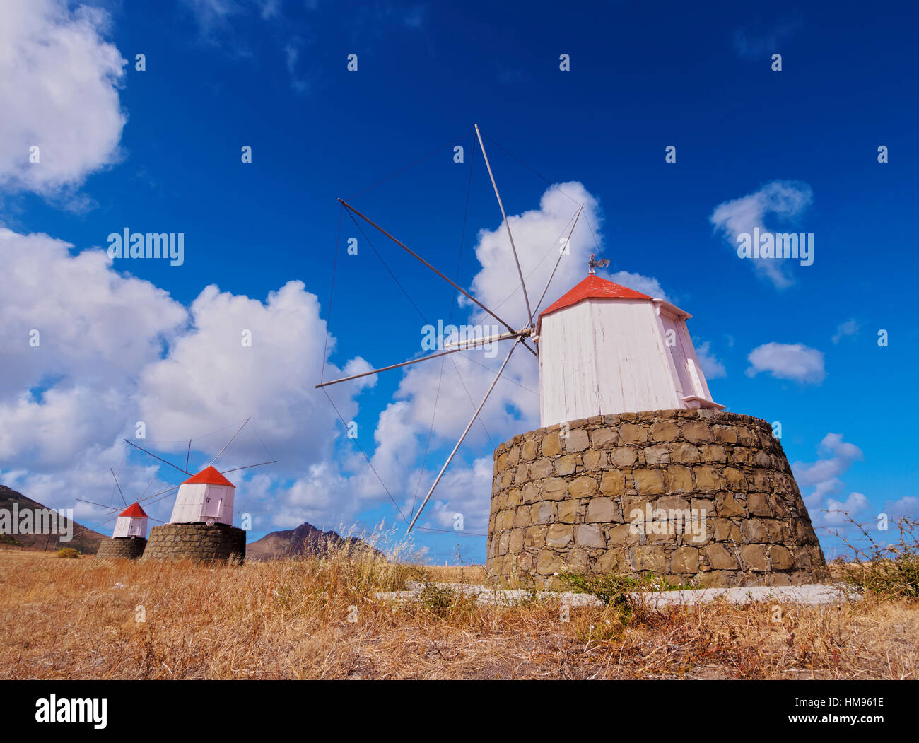 Traditional windmills of Porto Santo Island located on the way from Casinhas to Serra de Fora, Madeira Islands, Stock Photo