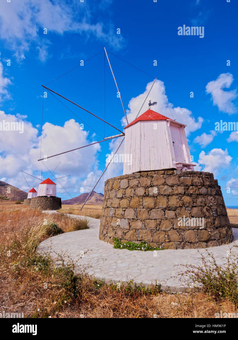 Traditional windmills of Porto Santo Island located on the way from Casinhas to Serra de Fora, Porto Santo, Portugal Stock Photo
