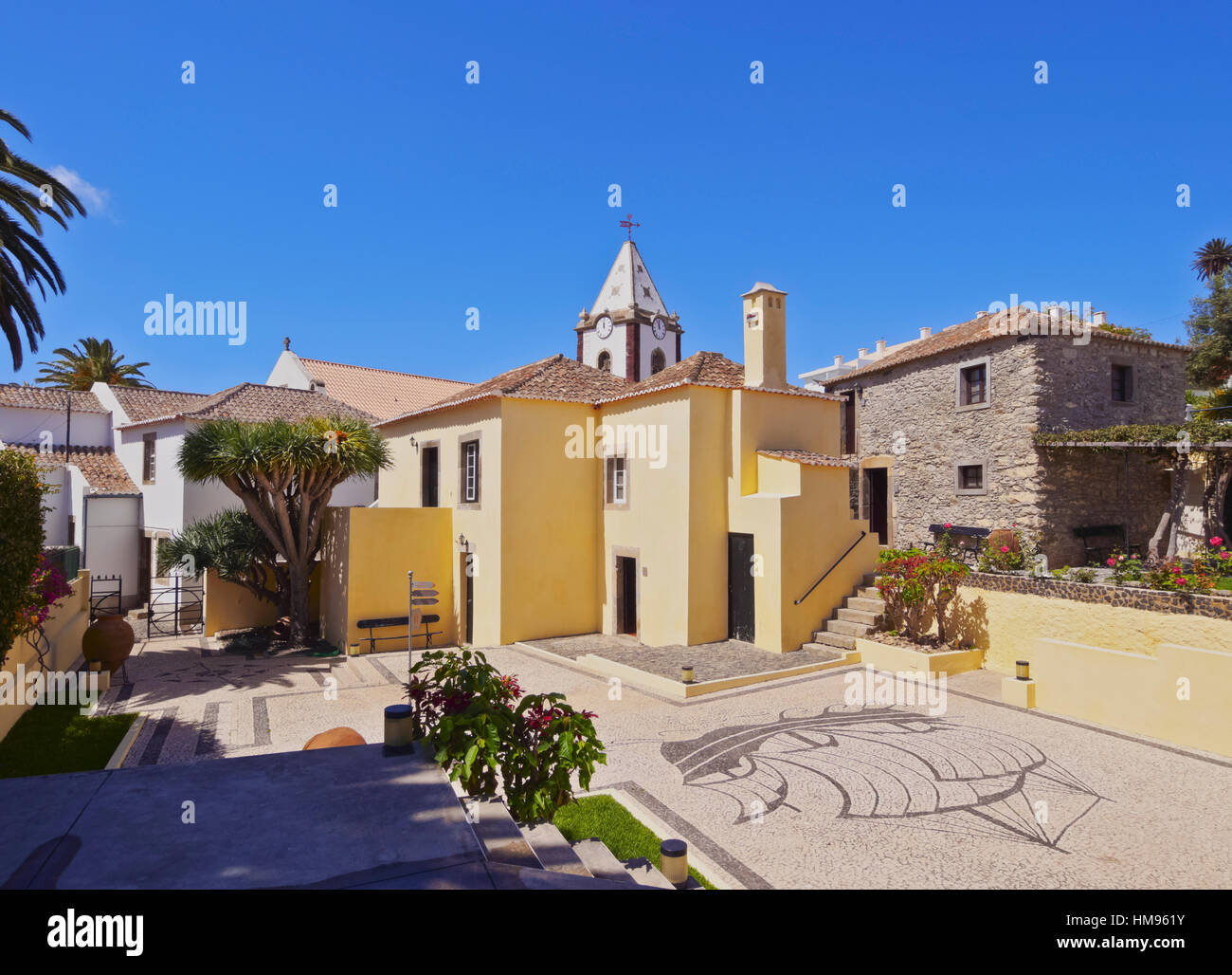View of the Casa de Cristovao Colombo Museum and the Church tower, Vila Baleira, Porto Santo, Madeira Islands, Portugal - Stock Image