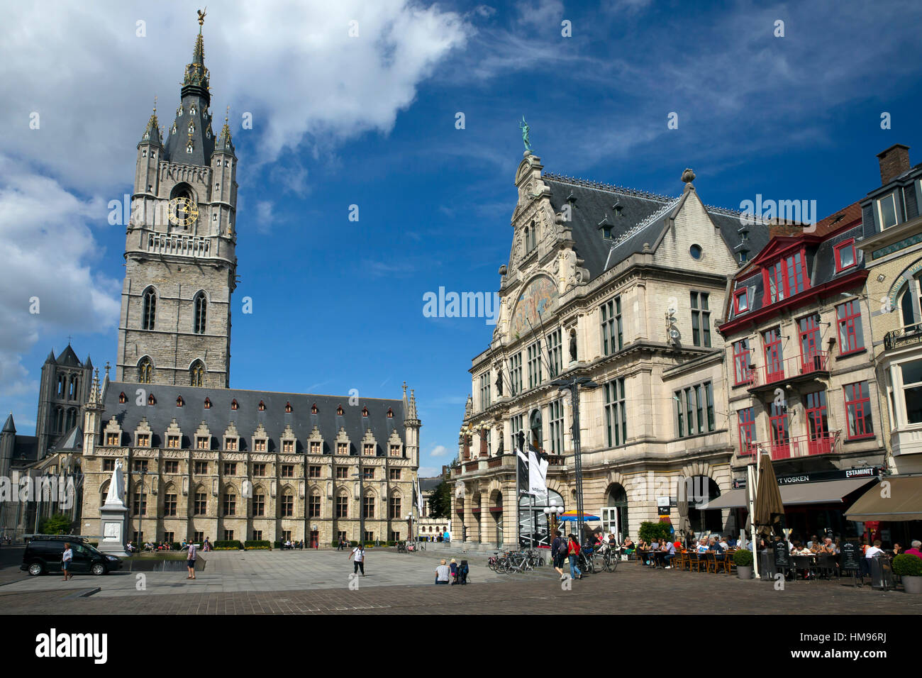 Belfry Tower in Saint Bavo's square, city centre, Ghent, West Flanders, Belgium - Stock Image