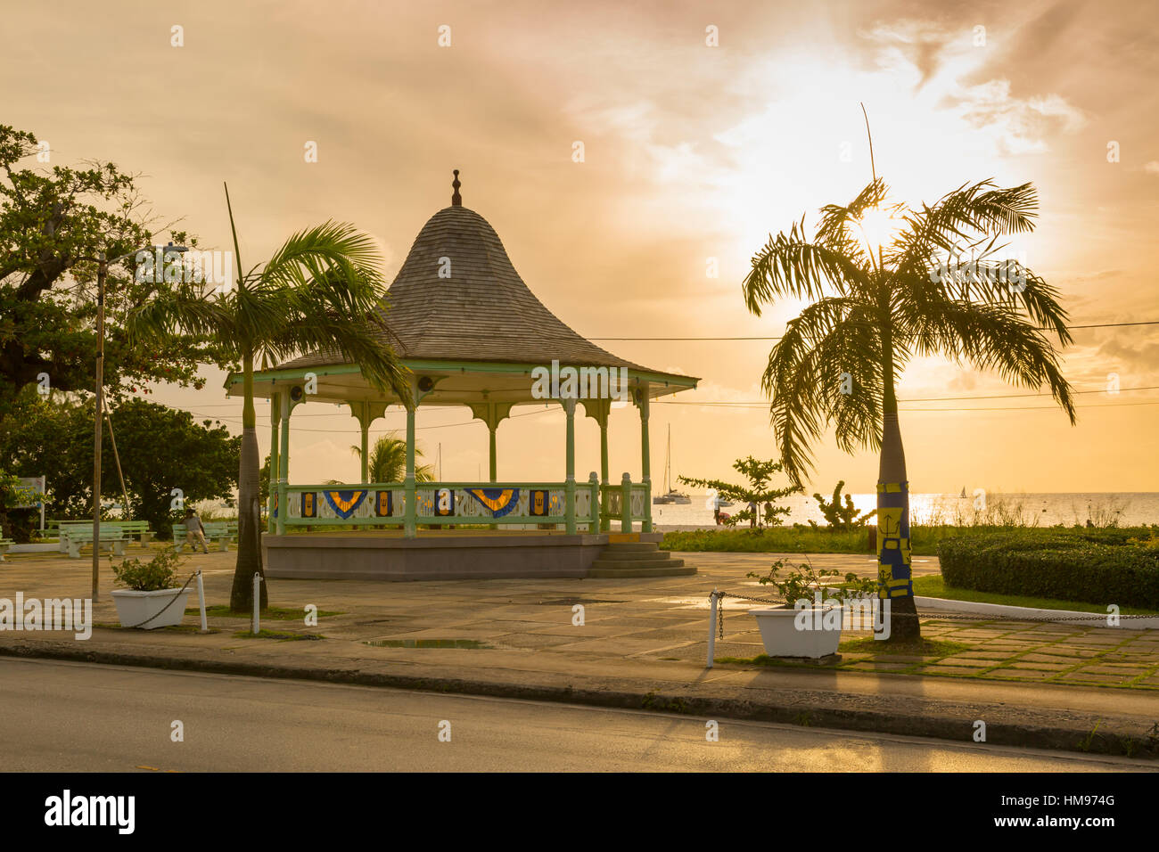 Bandstand and Brownes Beach, Bridgetown, St. Michael, Barbados, West Indies, Caribbean, Central America - Stock Image