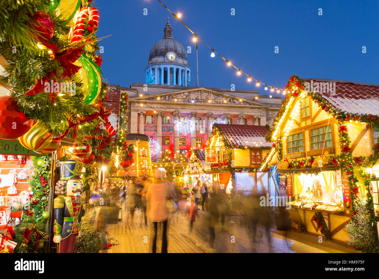 Christmas Market in the Old Town Square, Nottingham, Nottinghamshire, England, United Kingdom - Stock Image