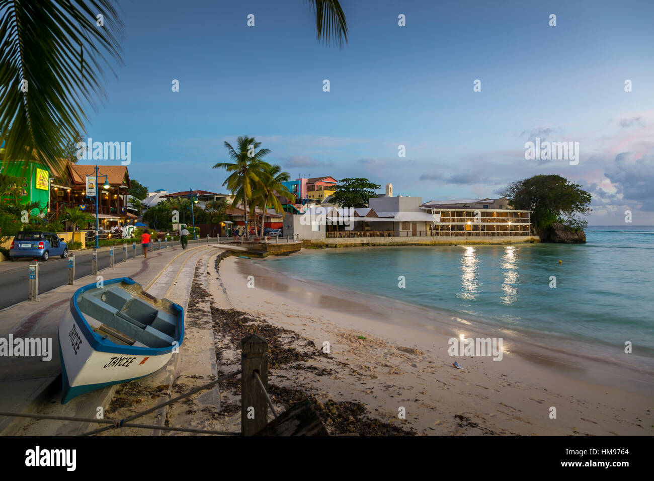 St. Lawrence Gap at dusk, Christ Church, Barbados, West Indies, Caribbean, Central America - Stock Image