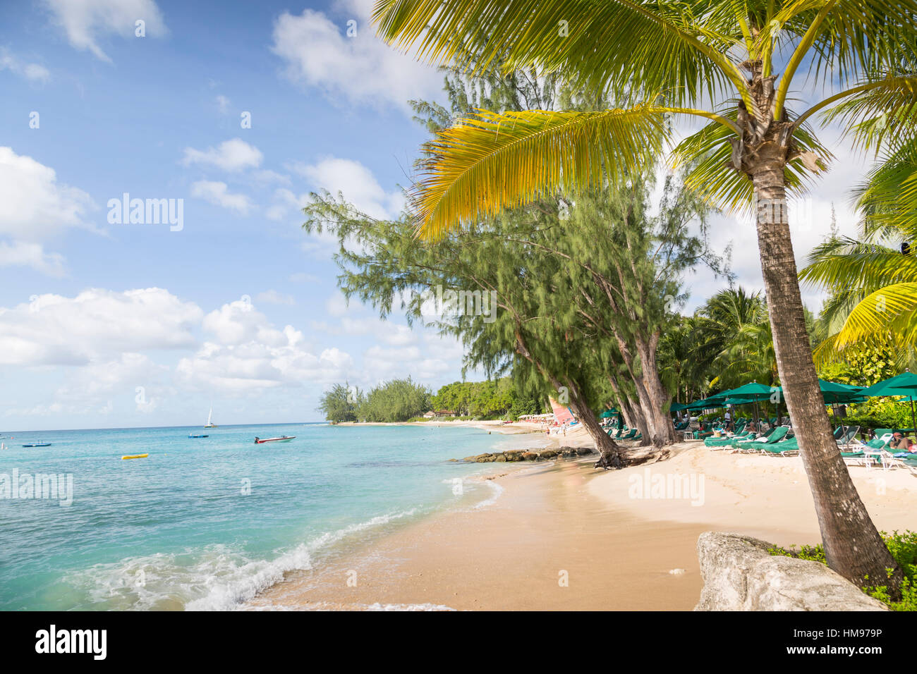 Beach, Holetown, St. James, Barbados, West Indies, Caribbean, Central America Stock Photo