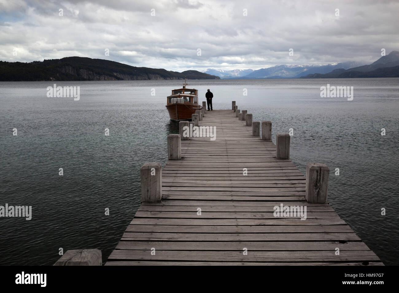 Pier on Lake Nahuel Huapi, Villa La Angostura, Nahuel Huapi National Park, The Lake District, Argentina, South America - Stock Image