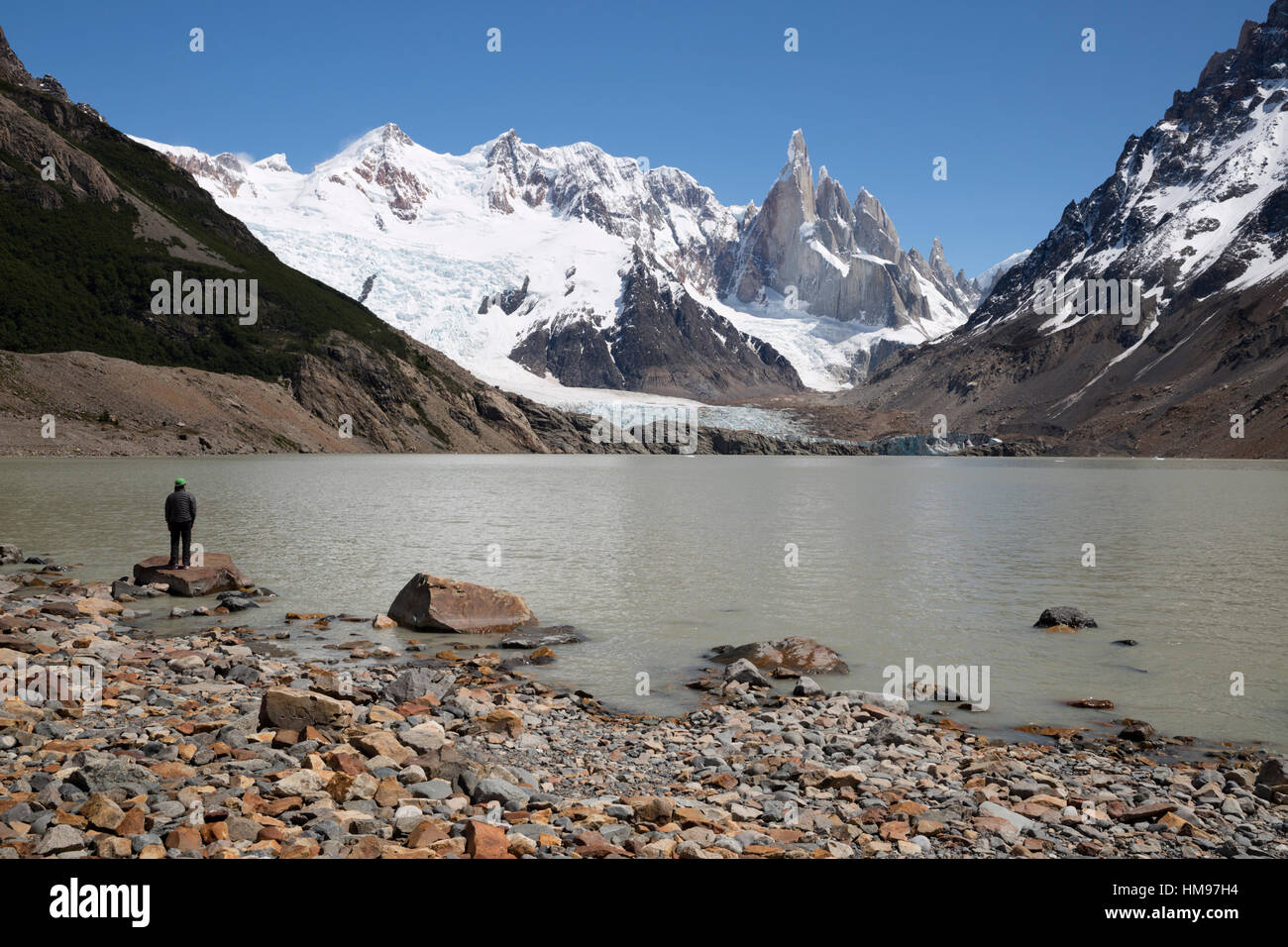 Laguna Torre with view of Cerro Torre and Glaciar Grande, El Chalten, Patagonia, Argentina, South America - Stock Image
