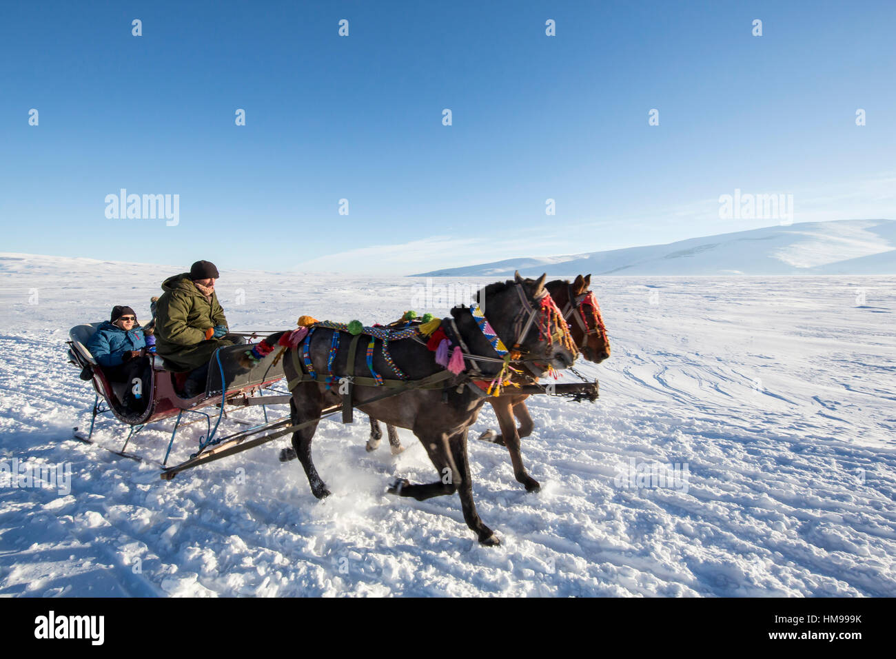 Ardahan, Turkey - January 14, 2017: Sleigh on frozen Cildir lake in Ardahan city of Turkey onJanuary 14, 2017. - Stock Image