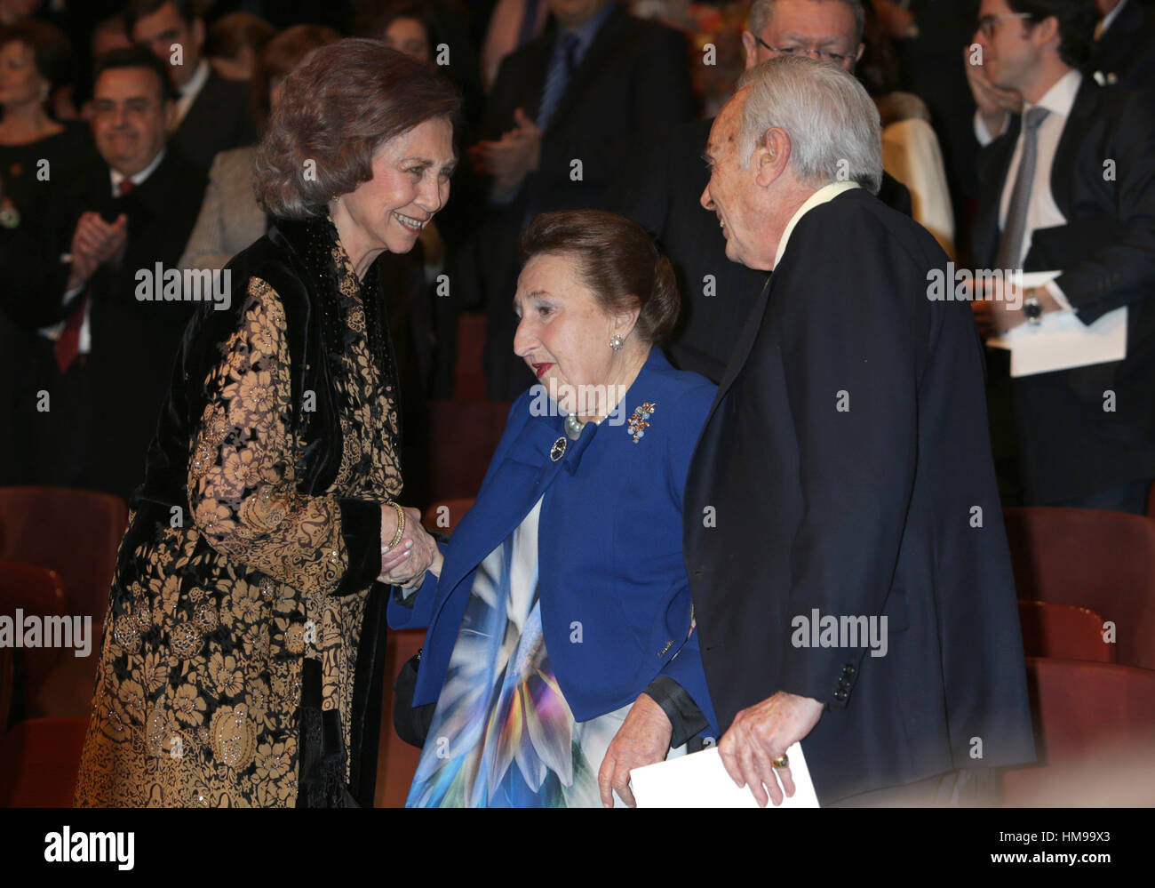 Spanish Queen Sofia, Carlos Zurita and Infant Margarita during the Second Meeting of the International Circle High - Stock Image