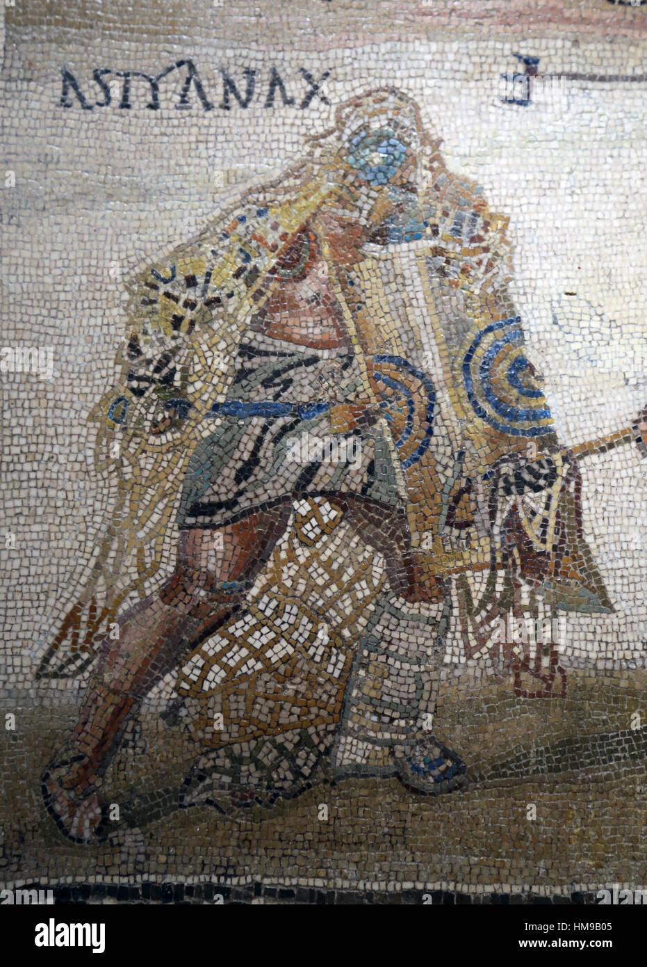 Secutor versus retiarius. Mosaic. Limestone. 3rd century. Rome. Secutor versus retiarius. Mosaic.  3rd century. - Stock Image