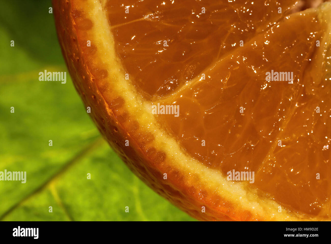 thirst quenching mouth watering orange up close - Stock Image