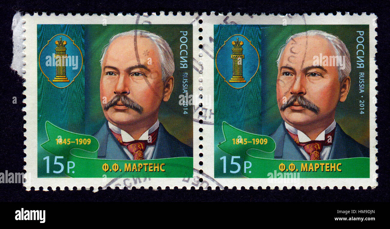Stamp printed in Russia shows image of the Friedrich Fromhold Martens,was a diplomat and jurist in service of the - Stock Image