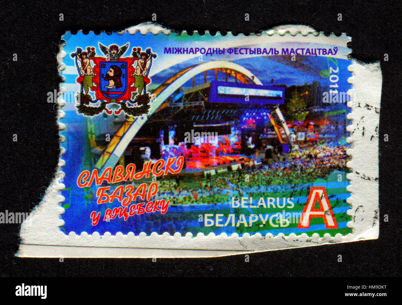 "Stamp printed in Belarus shows image of The International Festival of Arts ""Slavic Bazaar in Vitebsk"" . Stock Photo"