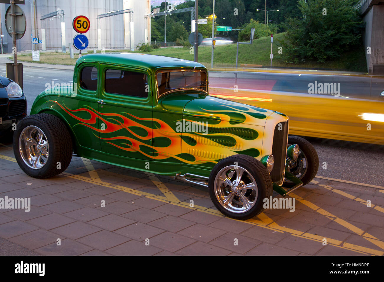 Very nice hot rod with flames on a street in Stockholm a nice ...