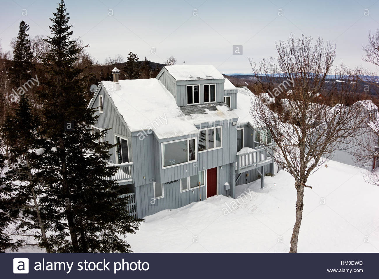 Lodging at Saddleback ski area, Sandy River Plantation, Maine, USA - Stock Image