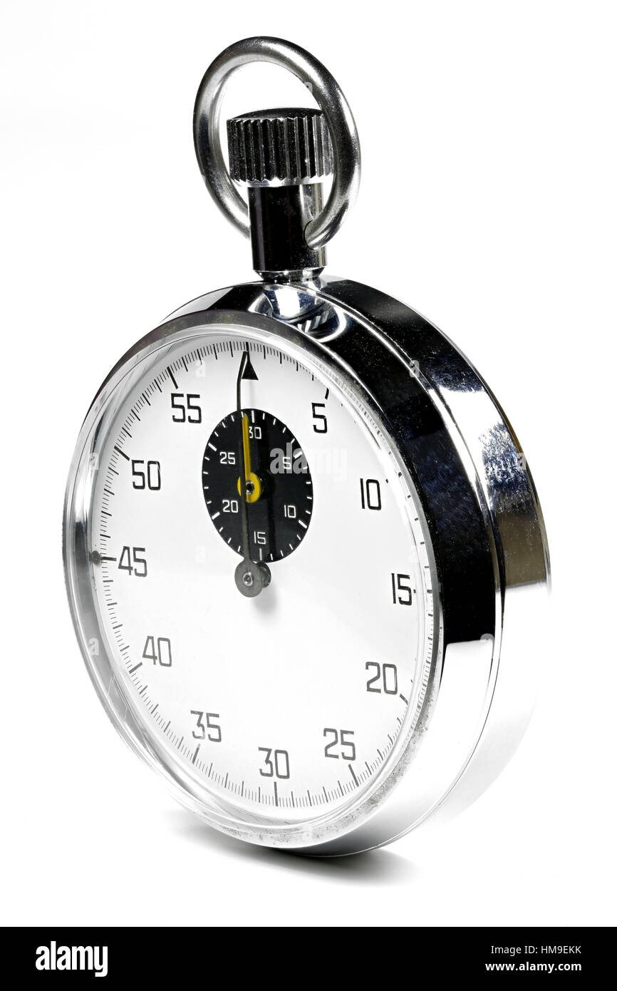 analogue stopwatch isolated white background - Stock Image