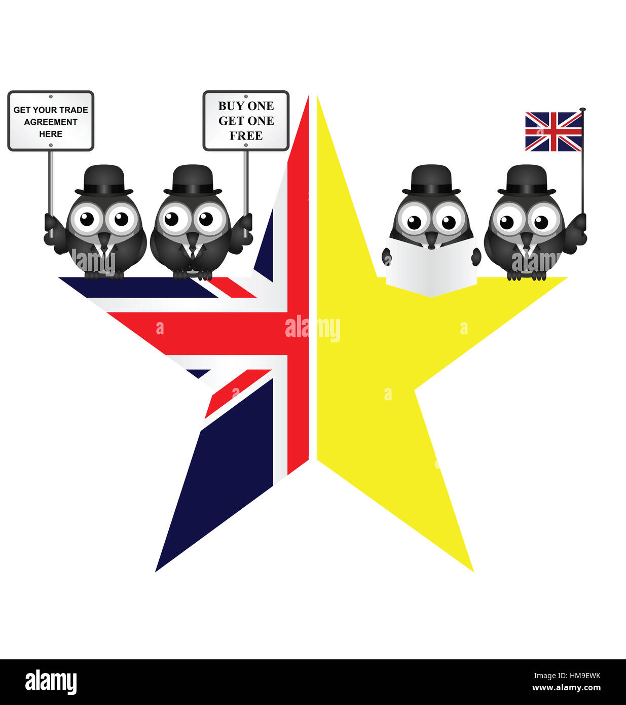 Comical UK and EU split star representing the United Kingdom exit from the European Union Stock Photo