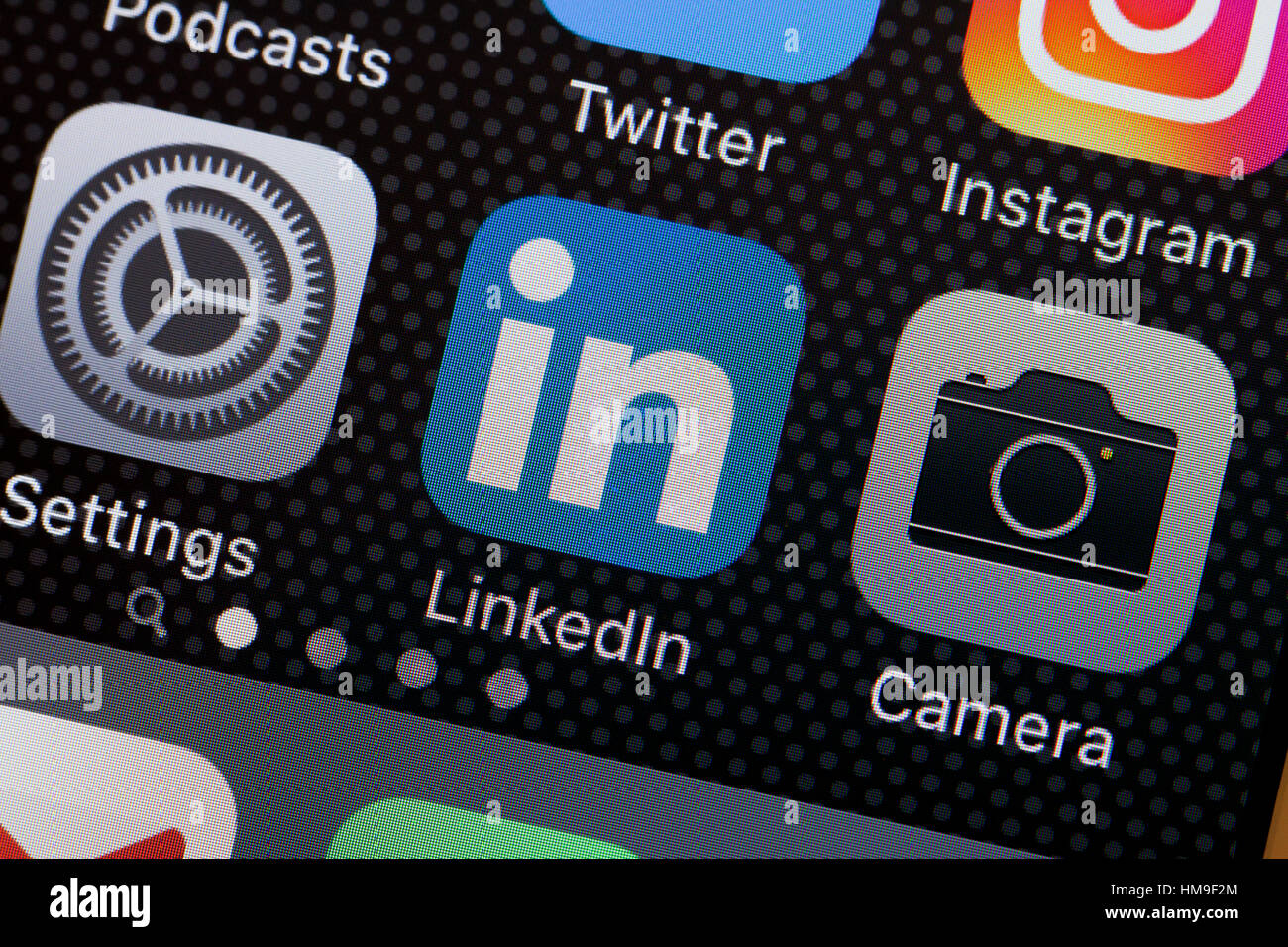 LinkedIn (Linked In) app icon on iPhone screen - USA - Stock Image