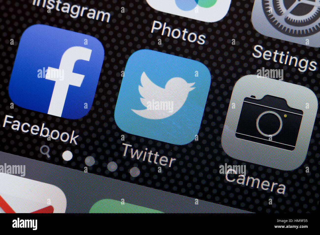 Twitter app icon on iPhone screen - USA - Stock Image