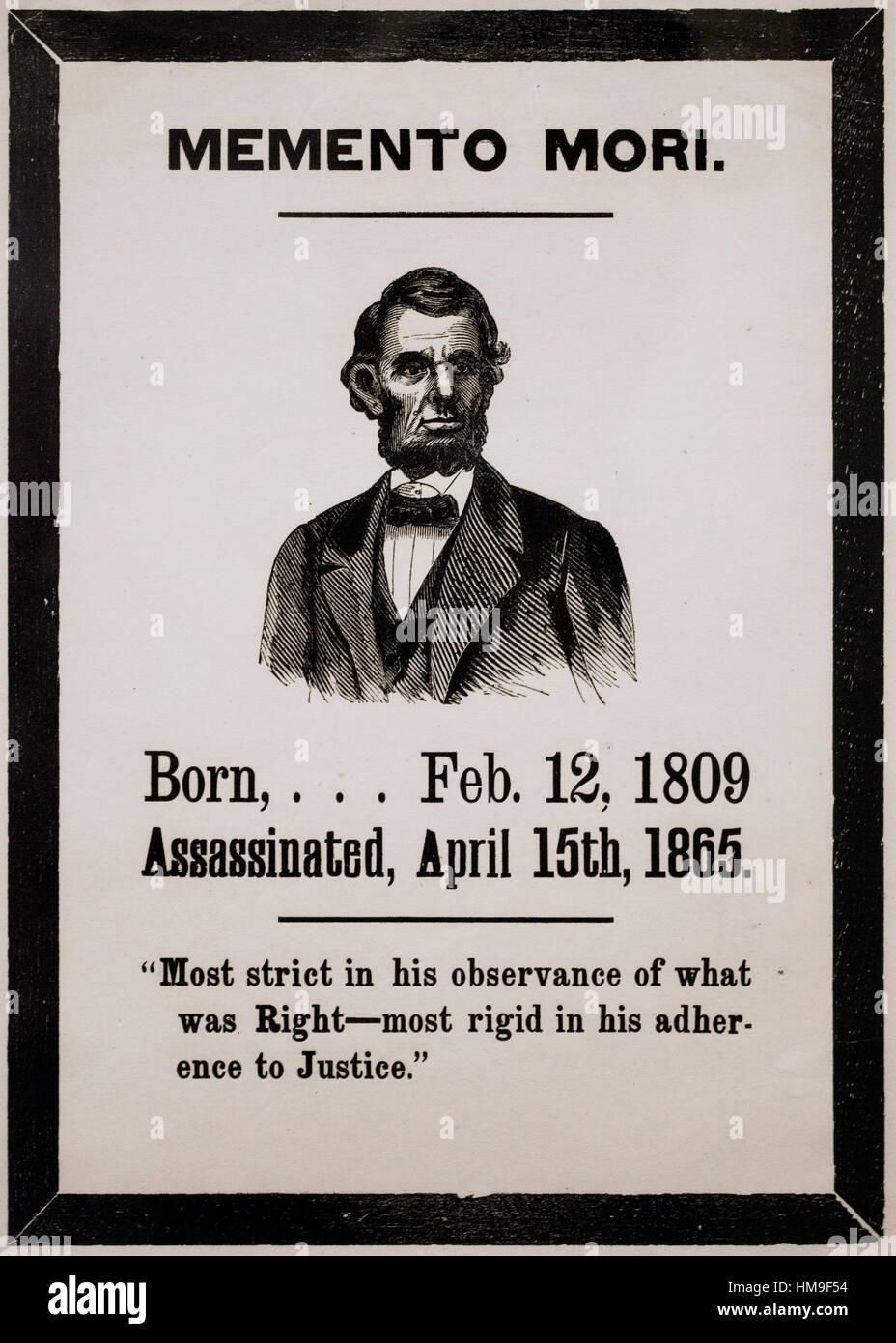 Memento mori of Abraham Lincoln, woodcut print, circa 1865 - USA - Stock Image