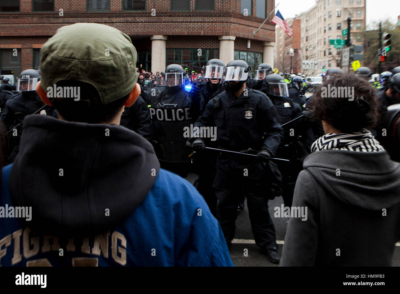 Metropolitan Police in riot gear standing in formation during Inauguration Day protests - Washington, DC USA - Stock Image