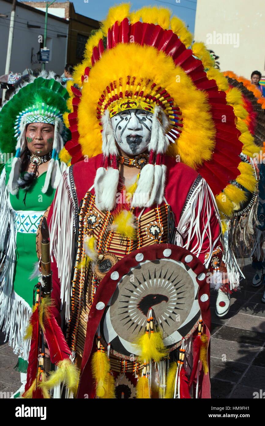 Parade of North American Indians, Queretaro, Mexico - Stock Image