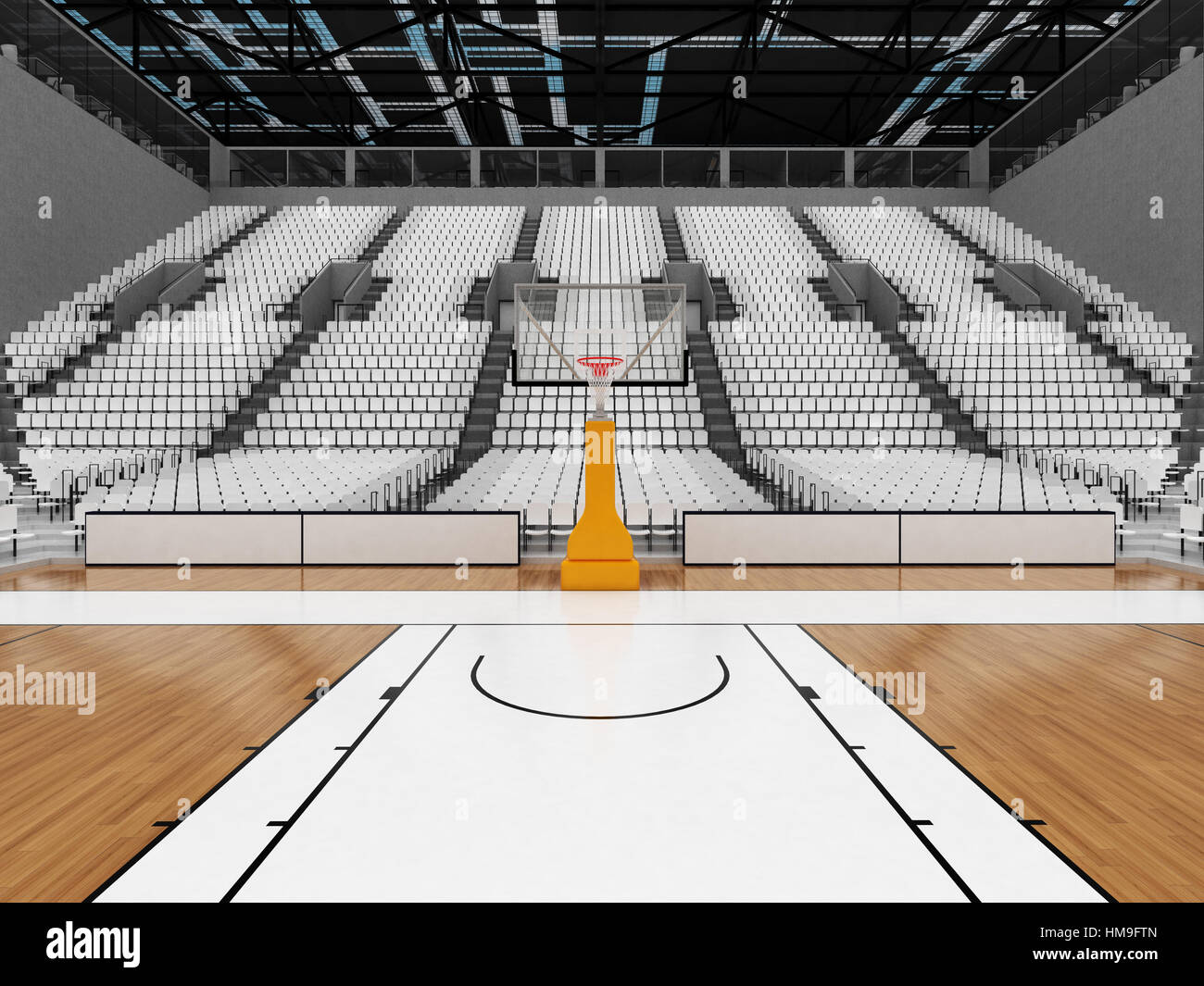 3d Render Of Beautiful Sports Arena For Basketball With Floodlights Stock Photo 132975717 Alamy