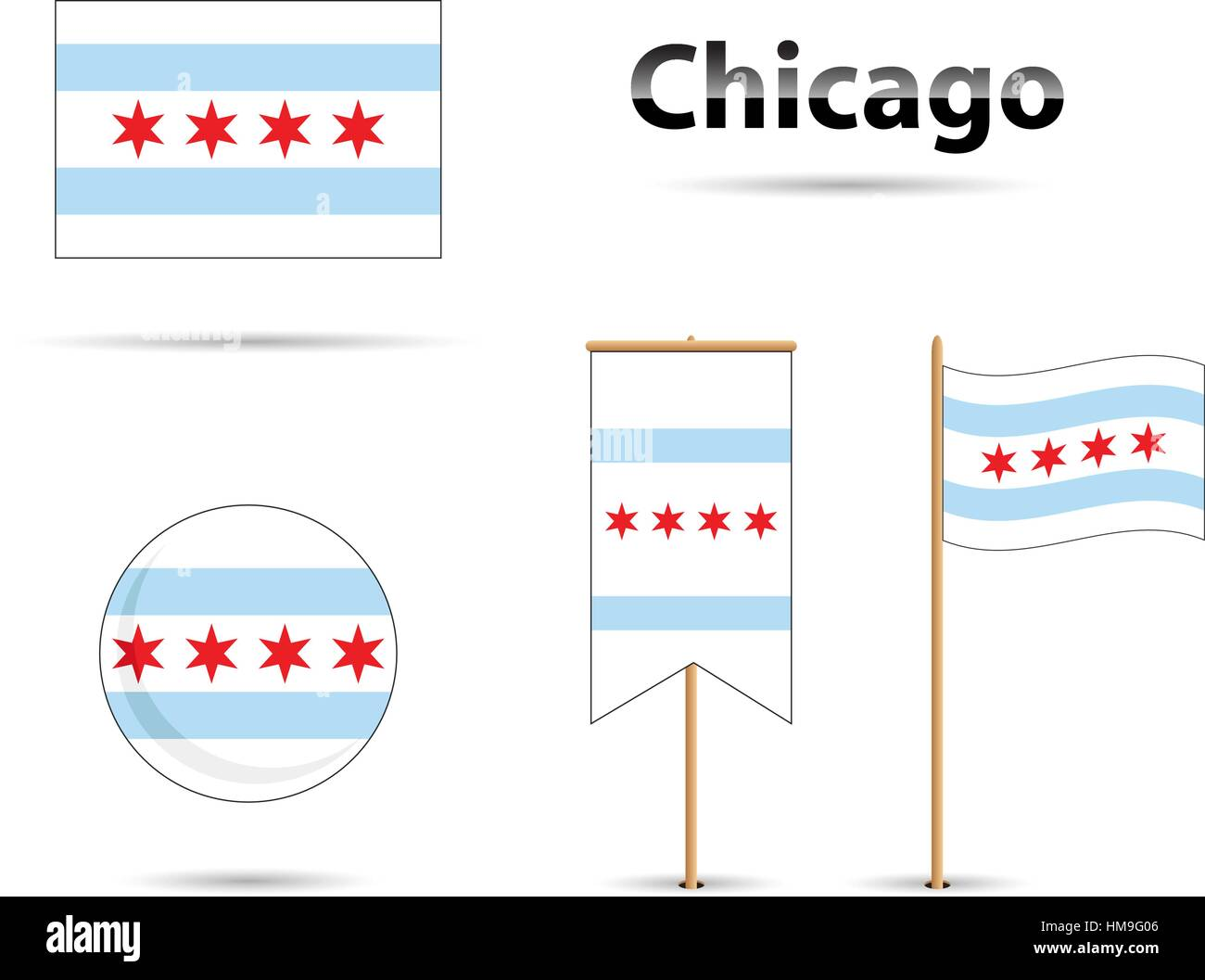Chicago Illinois flag, blue and red - Stock Vector