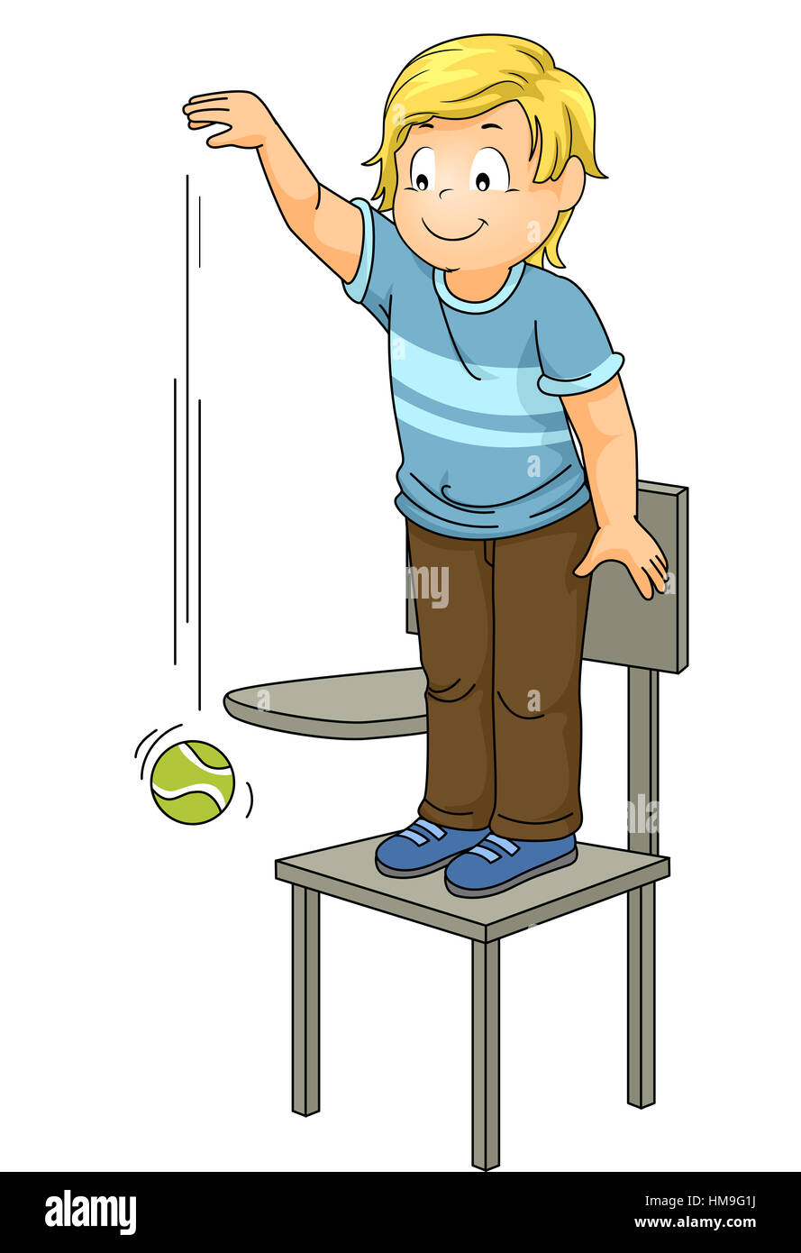 Illustration of a Little Boy Dropping a Ball from a High ...