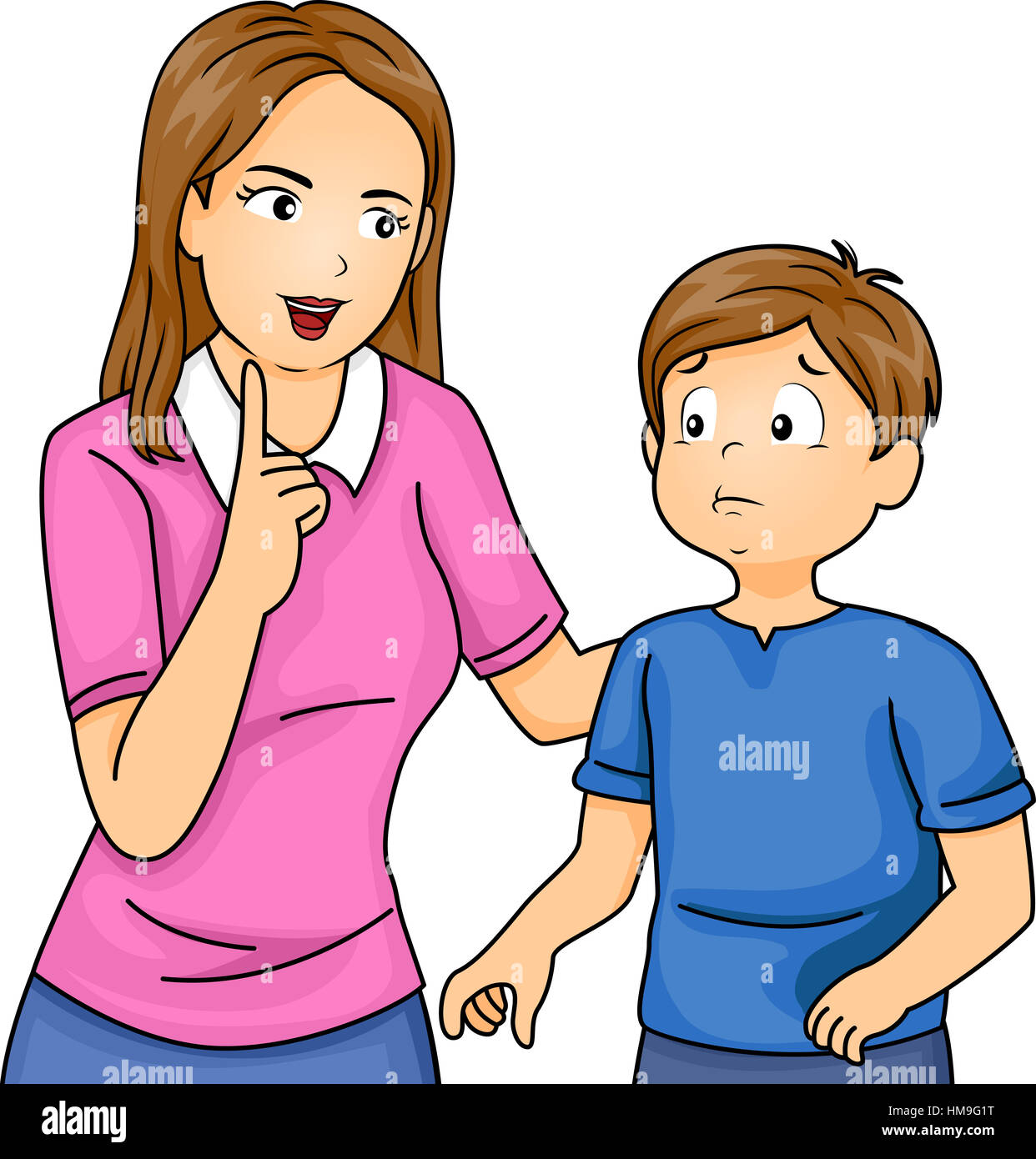Illustration Of A Mother Scolding Her Son Stock Photo Alamy